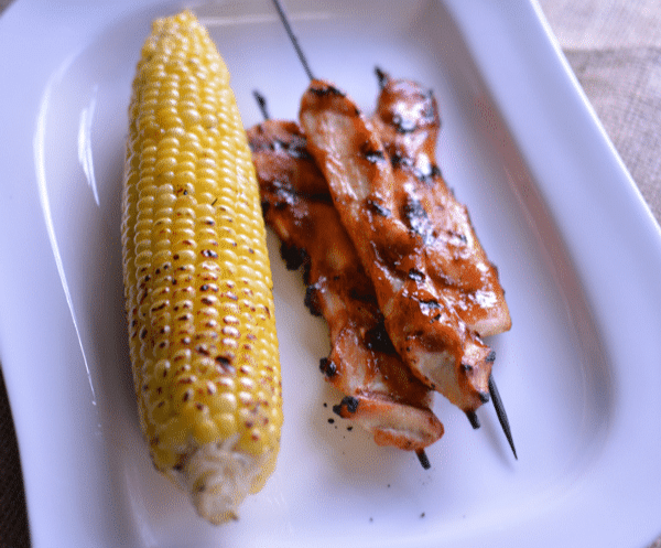 Recipe for Honey BBQ Chicken Skewers with Grilled Corn
