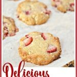 strawberry macadamia cookies on a cookie sheet
