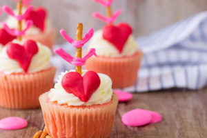 pink cupcakes for Valentine's Day