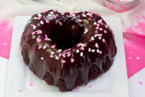 finished Valentine's Day bundt cake