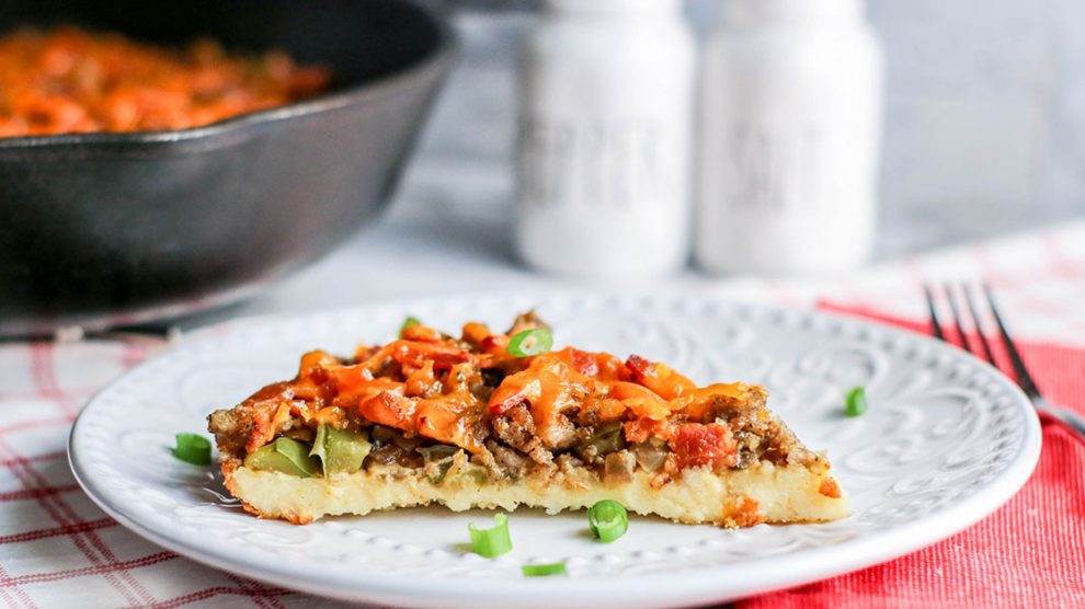 low carb pizza with veggies and meat