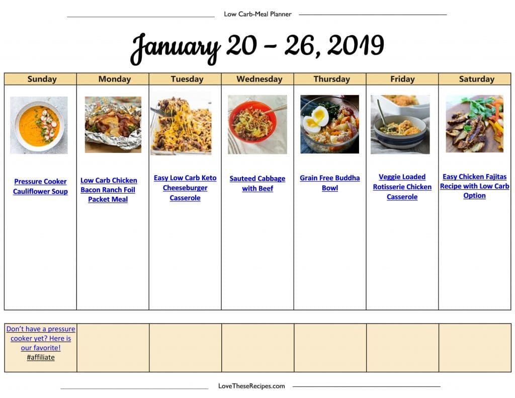 Low Carb Menu Plan