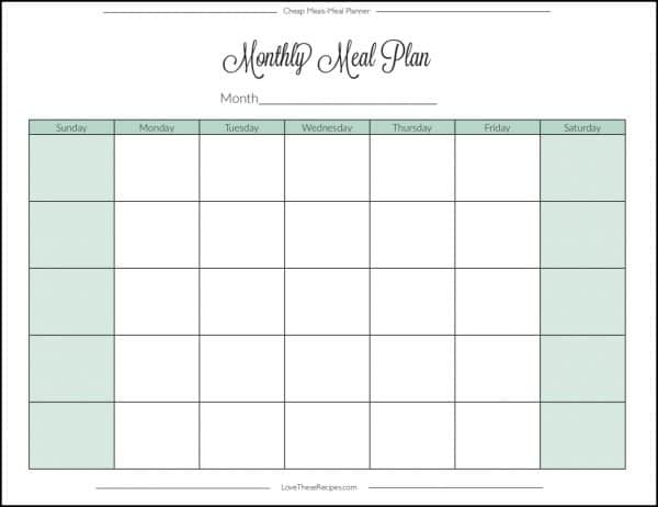 Monthly Meal Plan Page
