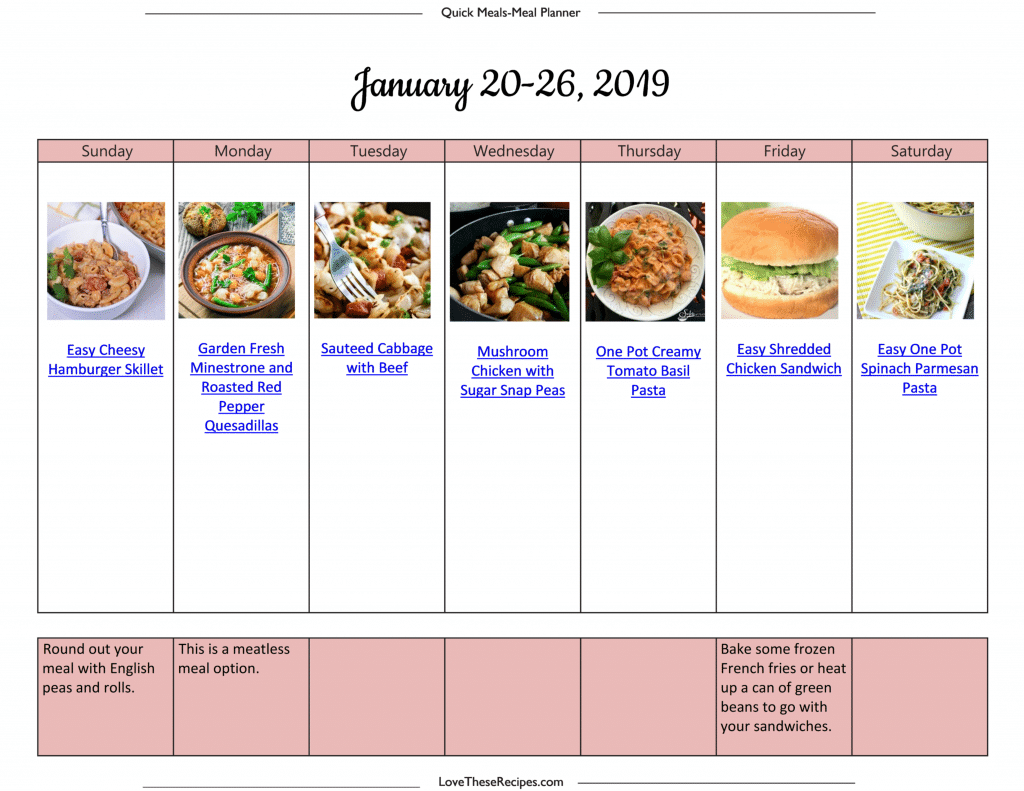 Quick Meal Plan
