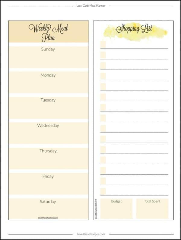 Shopping List Page in Low Carb Meal Planner